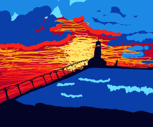 supah pretty sunset lighthouse
