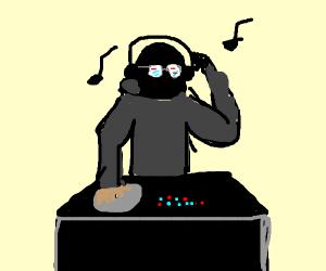 blue hoodie dj