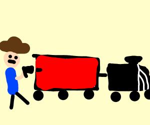 cowboy shooting at train