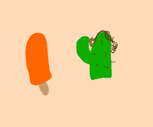 orange popsicle and hairy cactus