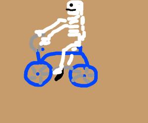 A skeleton riding a bike