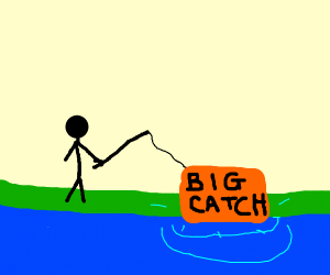 Guy gets a big catch whilist fishing