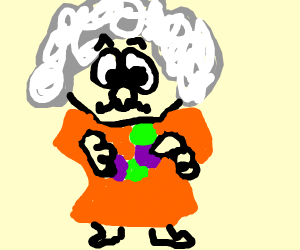 Grandmother playing with Grapes