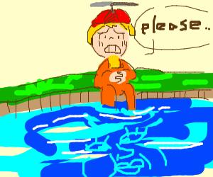Little boy begs to a feminine looking river