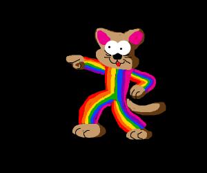 a cat in a cute rainbow jumper