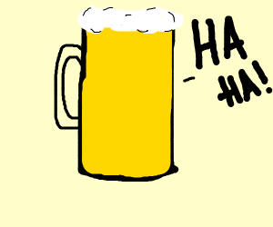 a mug of beer that laughs