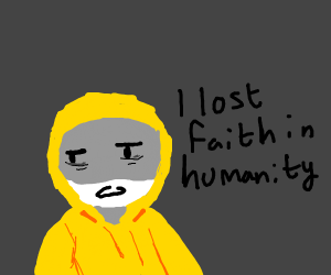 Dude in yellow hoodie looses faith in humanit