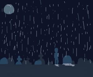Man in rain at gravestone mourning
