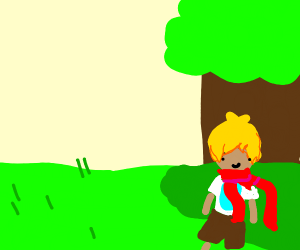 blond with large scarf in the shade