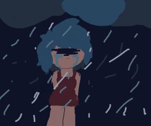 girl crying in the rain