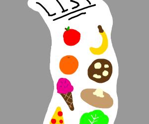 list of food XP