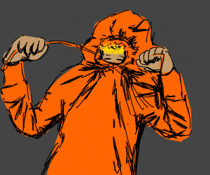 A kid in an orange hoodie, obscuring his face