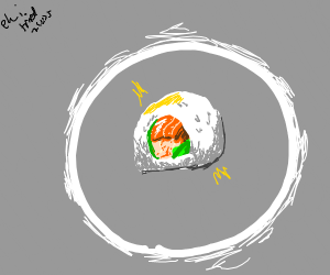 A white ring surrounding sushi