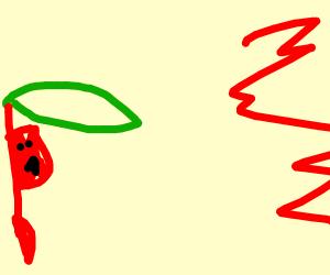 Flik hides under leaf after witnessing blood
