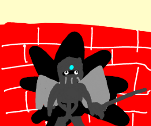 Winged knight smashes through a wall