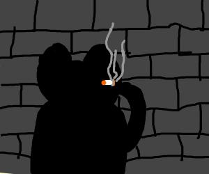 edgy ferret silhouette shot