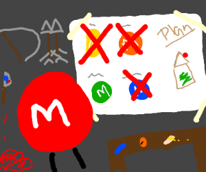 Red m&m on a murderspree