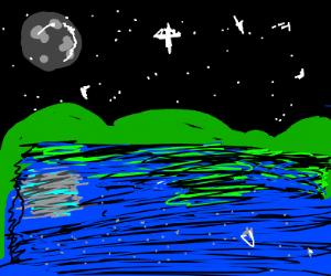 Night sky and lake.
