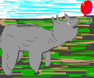 rhino likes red balloon