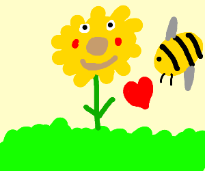 Sunflower-person flirts with a bee