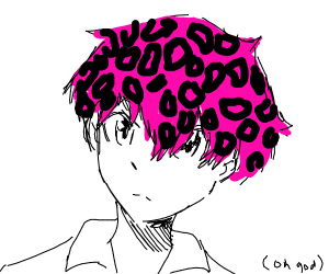 anime boy with pink leopard pattern hair