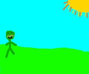 Mustachioed alien looks at the sun