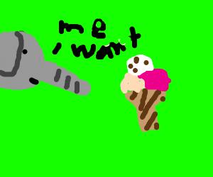 An elephant that want an icecream