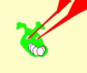 Shrek has laser vision