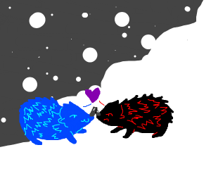 Cute Hedgehogs Kissing