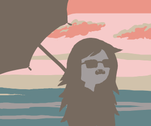 Marceline the vampire at a beach