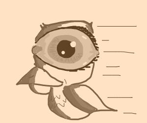 blue bird w/ pink lines head shaped like eye