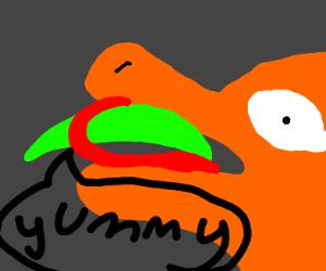 dragon eats a banana
