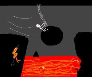 Riding a wrecking ball over lava