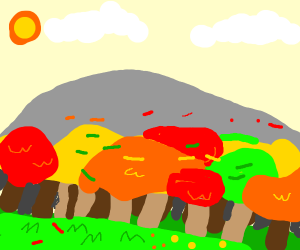a colorful forest with sun