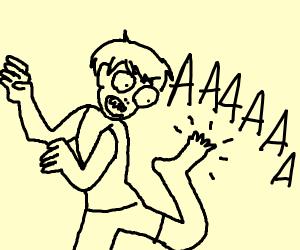 Man yells at his foot