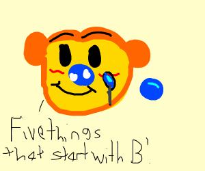 Blushing bear bursts blue bubbles