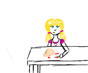 kid cutting table with bloody knife