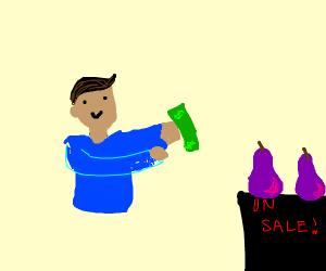 Guy's torso buying purple pear