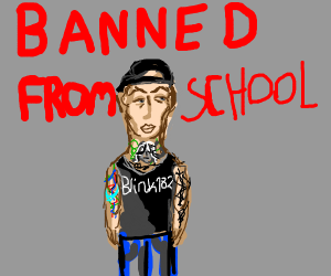 Blink182 dude's banned from school.
