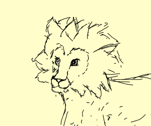A lion in anime style