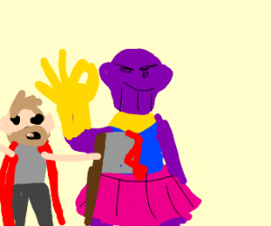 Thanos snapping while in a pink tutu