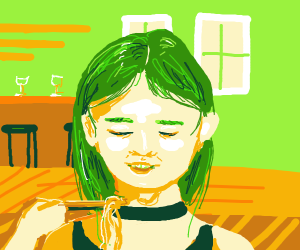 green haired girl eating ramen