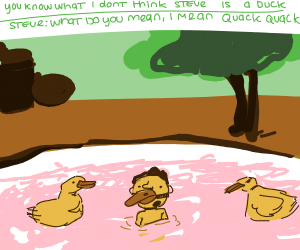 ducks in a pond And one very strange duck