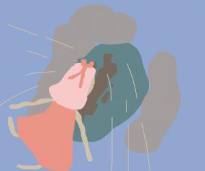 girl falling spread in sky