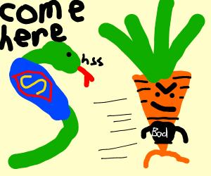 A super snake snatching a evil carrot away