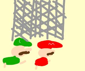 mario and luigi ducking under a gate