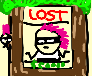 Pink haired burglar is lost.