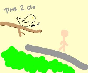 Bird shooting a man