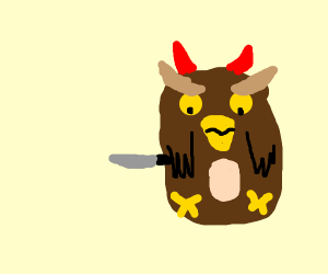 A devious owl with a knife