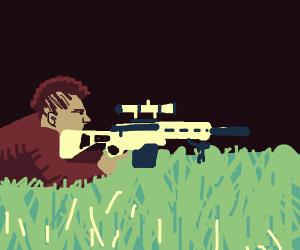 Mohawk Man prepares to snipe